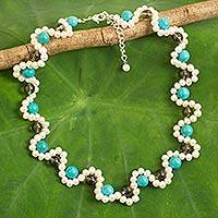 Cultured pearl and calcite beaded necklace, 'Clouds in the Mist' - Cultured Pearl Necklace with Blue Calcite