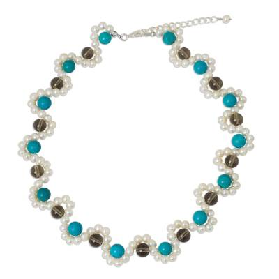 Cultured Pearl Necklace with Blue Calcite