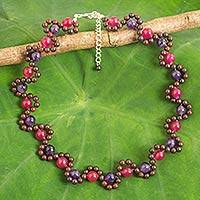 Multi-gemstone beaded necklace, 'Fuchsia Mist'
