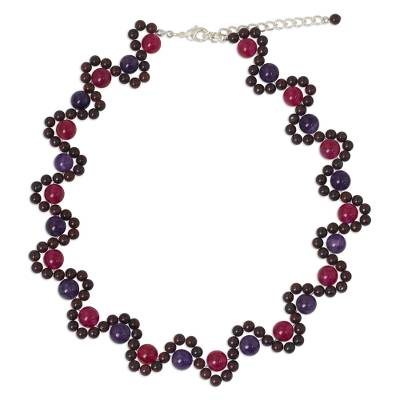 Multi-gemstone beaded necklace, 'Fuchsia Mist' - Handmade Multi-gemstone Beaded Necklace from Thailand