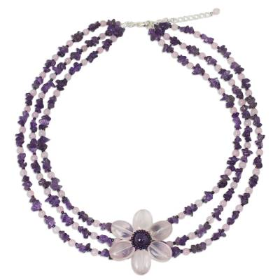 Amethyst and rose quartz beaded flower necklace, 'Blushing Daisy' - Artisan Crafted Multi-Gemstone Beaded Pendant Necklace