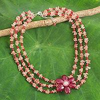 Multi-gemstone beaded strand necklace, 'Magenta Floral' - Multi-Gemstone Beaded Strand Necklace with Floral Pendant