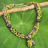 Multi-gemstone beaded necklace, 'Vineyard Scent' - Thai Artisan Crafted Green and Purple Multigemstone Necklace