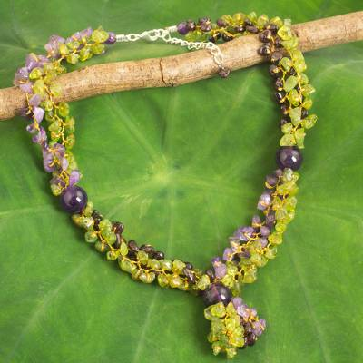 Multi-gemstone beaded necklace, 'Vineyard Scent' - Thai Artisan Crafted Green and Purple Multigemstone Necklace