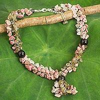 Multi-gemstone beaded necklace, 'Magnolia Scent' - Fair Trade Multigemstone Beaded Necklace in Pink and Grey