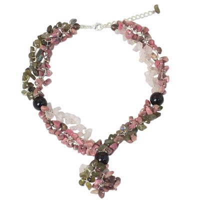 Multi-gemstone beaded necklace, 'Magnolia Scent' - Fair Trade Multigemstone Beaded Necklace in Pink and Grey