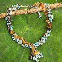 Multi-gemstone beaded necklace, 'Ocean Scent' - Handmade Beaded Multigem Necklace Thai Fair Trade Jewelry