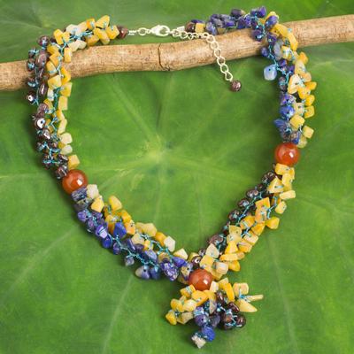 Multi-gemstone beaded necklace, 'Morning Scent' - Thai Artisan Crafted Blue and Orange Multigemstone Necklace