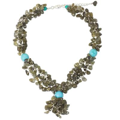 Fair Trade Multigemstone Beaded Necklace in Iridescent Grey