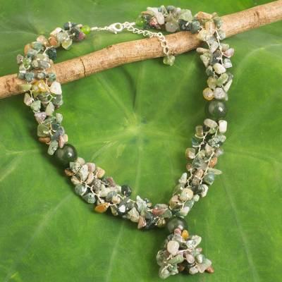 Jasper and quartz beaded necklace, Forest Scent