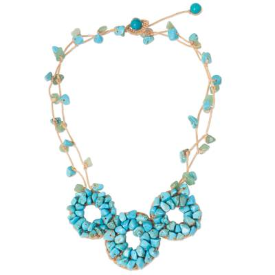 Thai Artisan Crafted Turquoise Color Multigemstone Necklace
