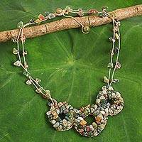 Jasper and unakite beaded necklace, 'Hill Tribe Diva' - Fair Trade Jasper and Unakite Handmade Beaded Necklace
