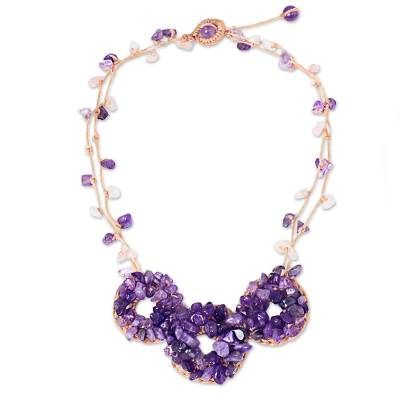 Thai Artisan Crafted Lilac and Lavender Amethyst Necklace