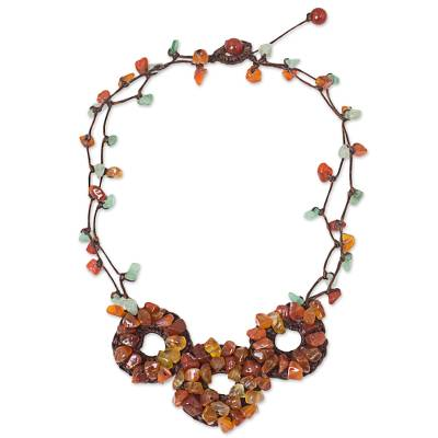 Fair Trade Multigemstone Beaded Orange and Green Necklace