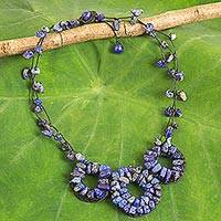 Lapis lazuli beaded necklace, 'Hill Tribe Diva' - Thai Artisan Crafted Lapis Lazuli Blue Pendant Necklace