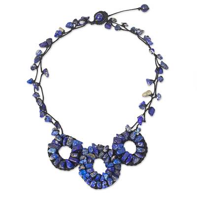 Thai Artisan Crafted Lapis Lazuli Blue Pendant Necklace