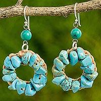 Calcite dangle earrings, 'Stunning Summer' - Blue and Green Dyed Calcite Dangle Earrings Made in Thailand