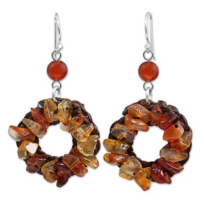 Carnelian Wreath Dangle Earrings Handmade in India