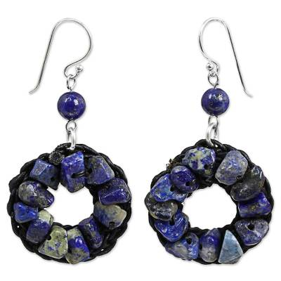 Lapis Lazuli Wreath Dangle Earrings Handmade in Thailand