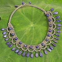 Lapis lazuli collar necklace, 'Blue Folk Lace'