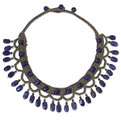 Lapis lazuli collar necklace, 'Blue Folk Lace' - Lapis Lazuli Cord Collar Necklace Handmade in Thailand