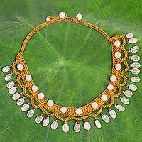 Rose quartz collar necklace, 'Rose Folk Lace' - Rose Quartz Brown Cord Collar Necklace Handmade in Thailand