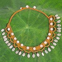 Rose quartz collar necklace,