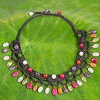 Multi-gemstone collar necklace, 'Bright Folk Lace'