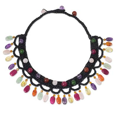 Multi-gemstone collar necklace, 'Bright Folk Lace' - Colorful Gemstone Cord Collar Necklace Handmade in Thailand