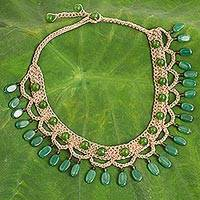 Quartz collar necklace, 'Green Folk Lace' - Green Quartz Cord Collar Necklace Handmade in Thailand
