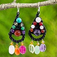 Multi-gemstone beaded dangle earrings, 'Bright Folk Lace' - Gemstone Crocheted Dangle Earrings Handmade in Thailand