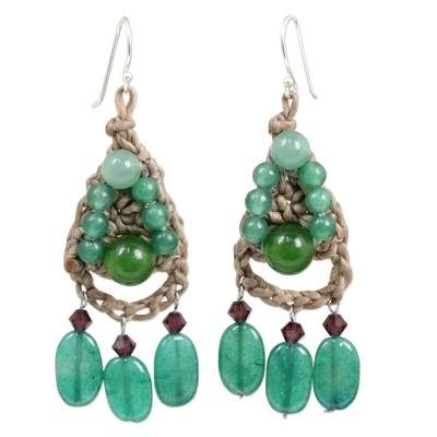 Handcrafted Bohemian Turquoise Blue and Green Beaded Dangle Earrings