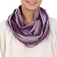 Cotton infinity scarf, 'Purple Skies'