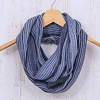 Cotton infinity scarf, 'Foggy Night'
