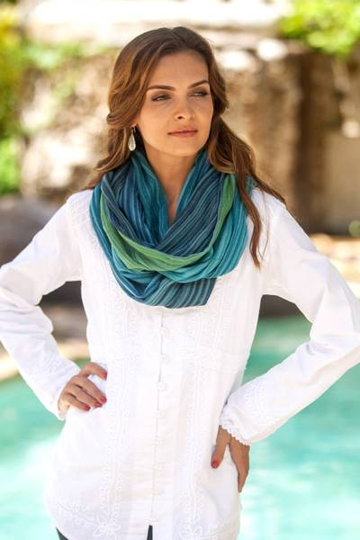Cotton infinity scarf, 'Seaside Breezes' - Artisan Crafted 100% Cotton Infinity Scarf from Thailand