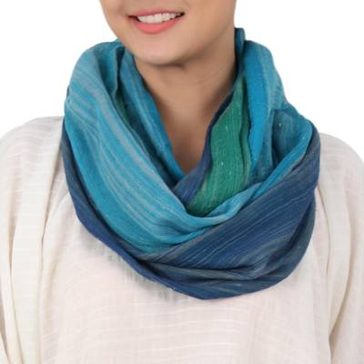 Cotton infinity scarf, 'Seaside Breezes' - Artisan Crafted 100% Cotton Infinity Scarf from Thailand
