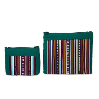 Thai Hill Tribe Applique on 2 Cotton Blend Cosmetic Bags
