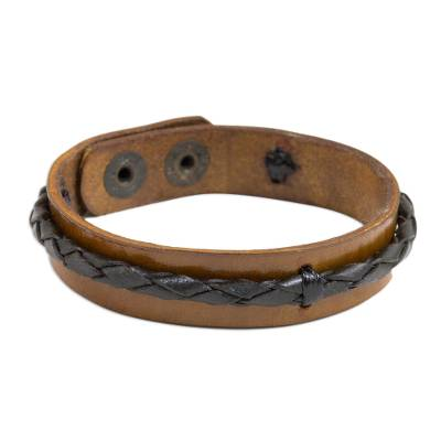 Leather wristband bracelet, 'Fantasy Brown' - Artisan Crafted Black and Brown Leather Wristband Bracelet