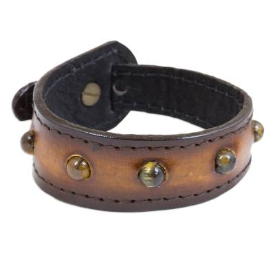 Tiger's eye and leather wristband bracelet, 'Golden Meteor' - Artisan Crafted Leather and Tiger's Eye Wristband Bracelet