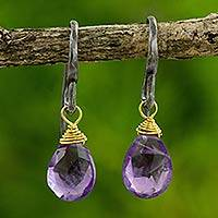 Amethyst dangle earrings, 'Morning Bright' - Handmade Gold Accented Amethyst Dangle Earrings