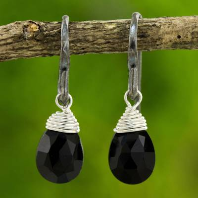 Onyx dangle earrings, 'Evening Bright' - Hand Crafted Onyx and Sterling Silver Dangle Earrings