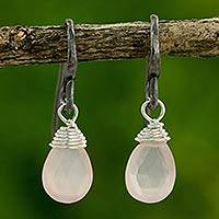 Rose quartz dangle earrings, 'Morning Bright' - Hand Crafted Rose Quartz and Sterling Silver Dangle Earrings