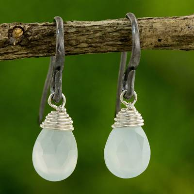 Chalcedony dangle earrings, 'Morning Bright' - Hand Crafted Chalcedony and Sterling Silver Dangle Earrings