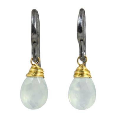 Hand Crafted Chalcedony and Sterling Silver Dangle Earrings
