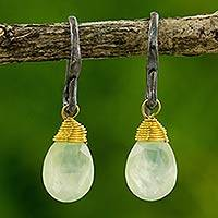Prehnite dangle earrings, 'Morning Bright' - Hand Crafted Gold Accented Prehnite Dangle Earrings