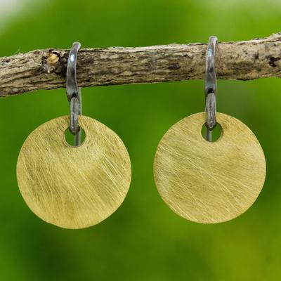Gold plated dangle earrings, 'Golden Morning' - Artisan Crafted Gold Plated Dangle Earrings from Thailand