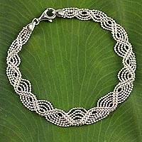 Sterling silver beaded bracelet, 'The Rivers Flow' - Artisan Handcrafted Thai Sterling Silver Beaded Bracelet