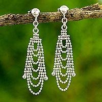 Featured review for Sterling silver waterfall earrings, Grand Dame