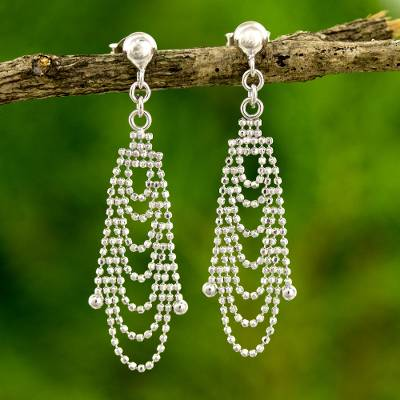 Sterling silver waterfall earrings, 'Grand Dame' - Thai Artisan Crafted Sterling Silver Waterfall Earrings