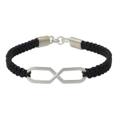Unicef Uk Market Infinity Symbol Pendant Bracelet On Black Leather